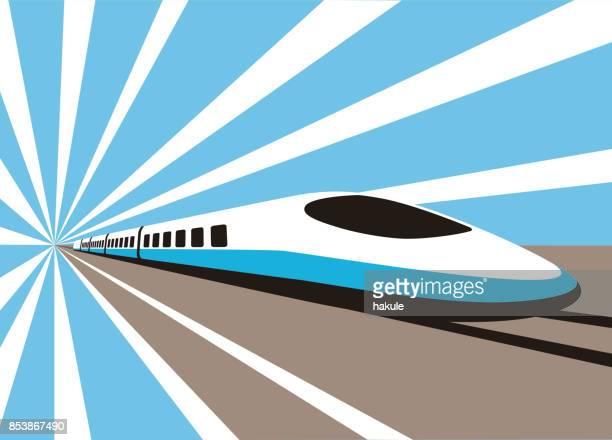 high speed bullet train, modern flat design, vector illustration - tall high stock illustrations