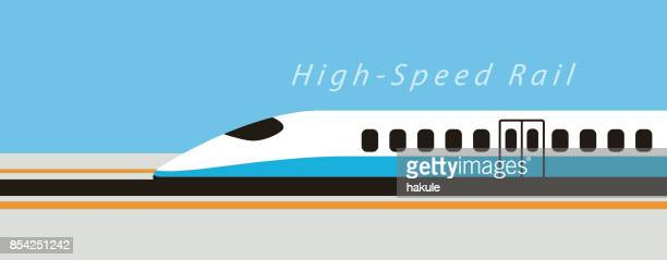 High speed bullet train moving fast, modern flat design, vector illustration