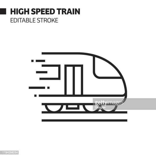 illustrazioni stock, clip art, cartoni animati e icone di tendenza di icona linea treno ad alta velocità, illustrazione del simbolo vettoriale del contorno. pixel perfetto, tratto modificabile. - treno