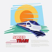 high speed train with sunset background - vector