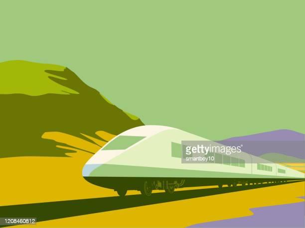 high speed trains - land vehicle stock illustrations