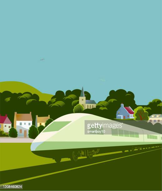 high speed trains - high speed train stock illustrations