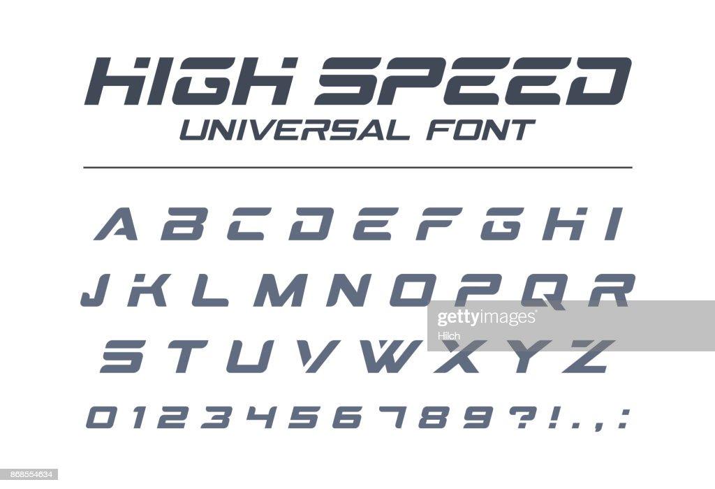 High speed universal font. Fast sport, futuristic, technology, future alphabet.