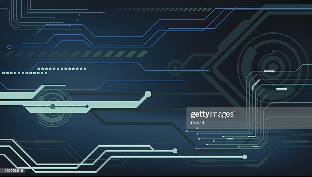Futuristic Hi Tech Background Vector: High Tech Background With Blue Hues Vector Art