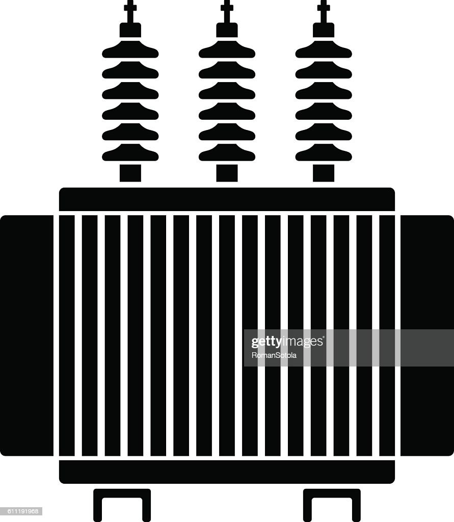 high voltage electrical transformer black symbol