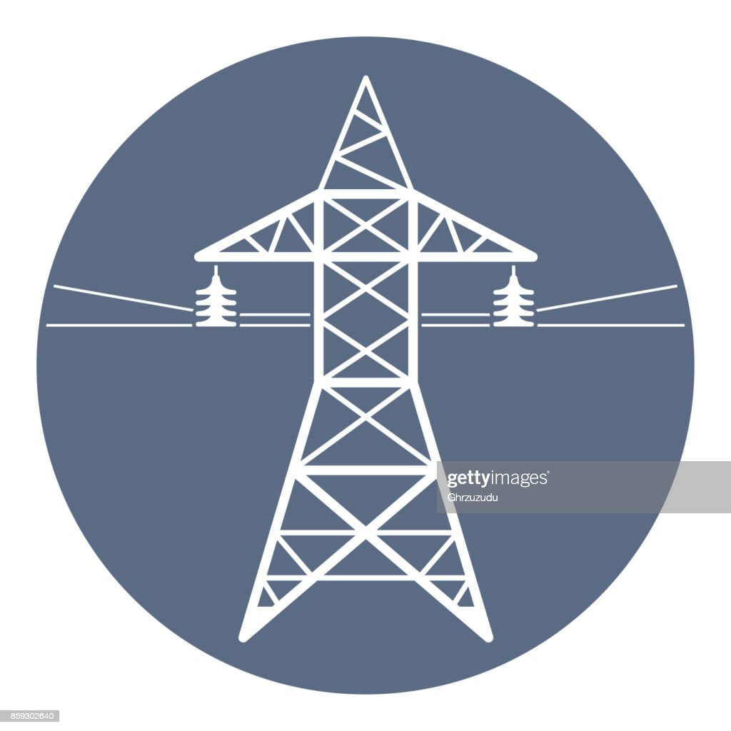 High voltage power line transmission tower. Electricity pylon.
