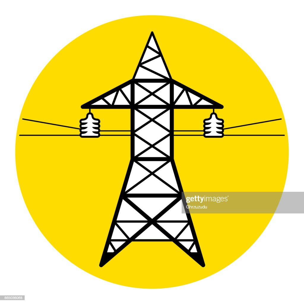 High voltage power line transmission tower icon. Electricity pylon sign.