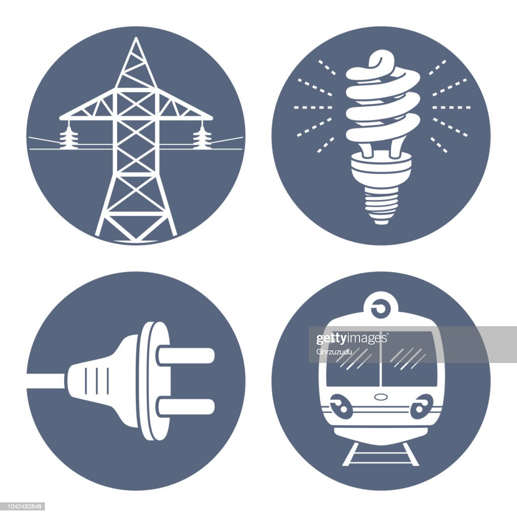 High voltage power line transmission tower or pylon, energy saving light bulb or lamp, AC plug, subway or EMU train.