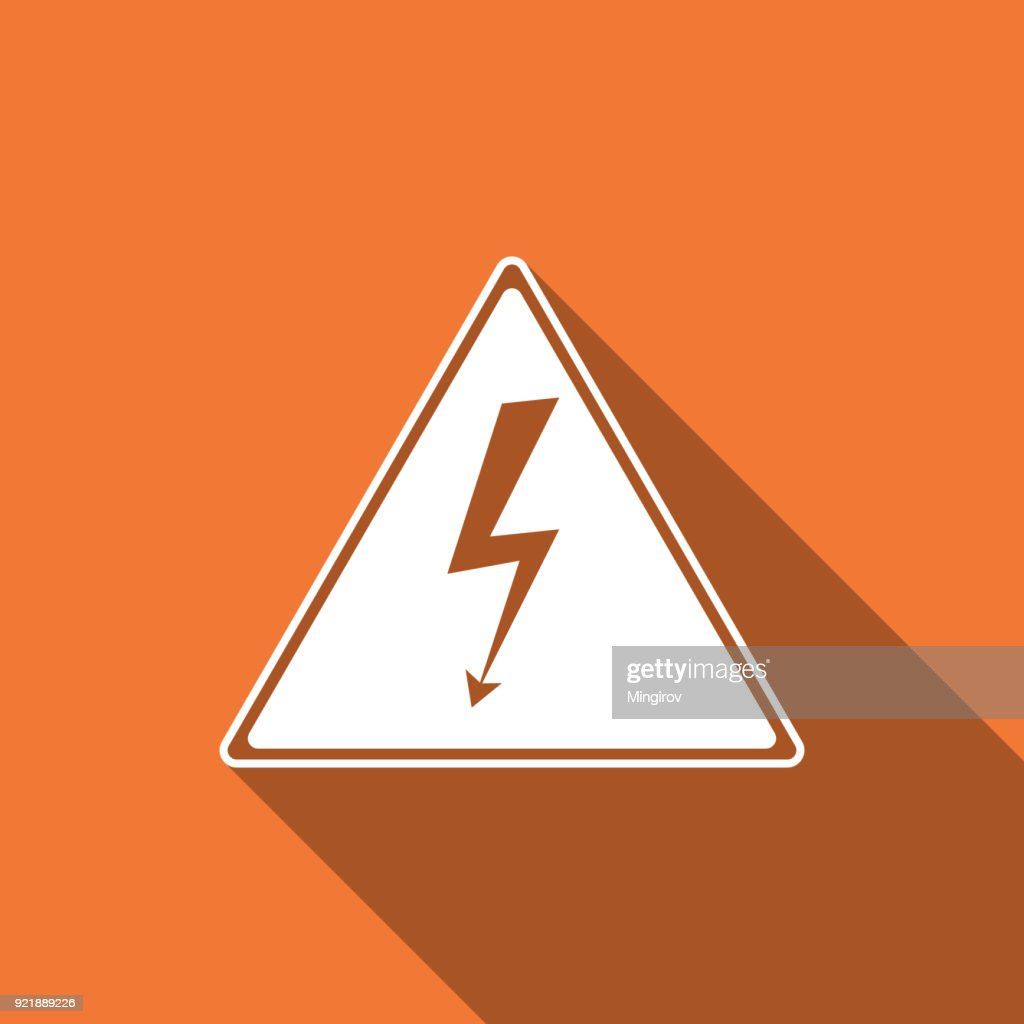 High voltage sign icon isolated with long shadow. Danger symbol. Arrow in triangle. Warning icon. Flat design. Vector Illustration