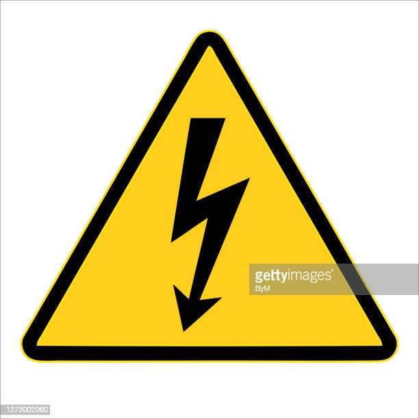 高電圧記号。警告サイン、電気的ハザードサイン。ベクターの図。白い背景に - ショック点のイラスト素材/クリップアート素材/マンガ素材/アイコン素材