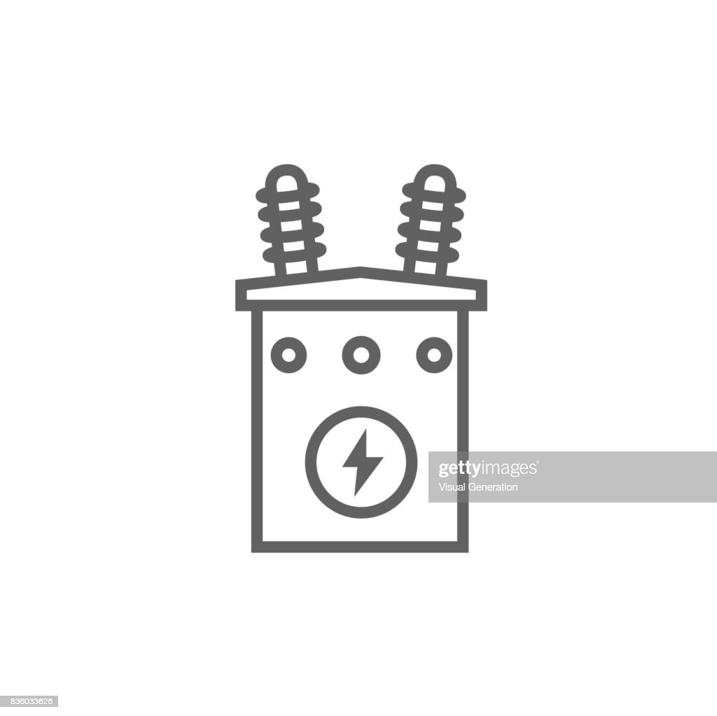 High voltage transformer line icon