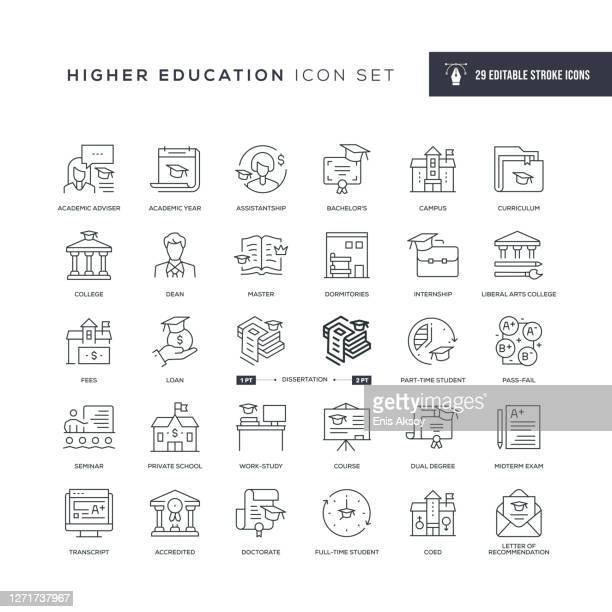 higher education editable stroke line icons - post secondary education stock illustrations