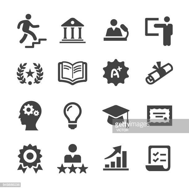 higher education icons - acme series - studying stock illustrations