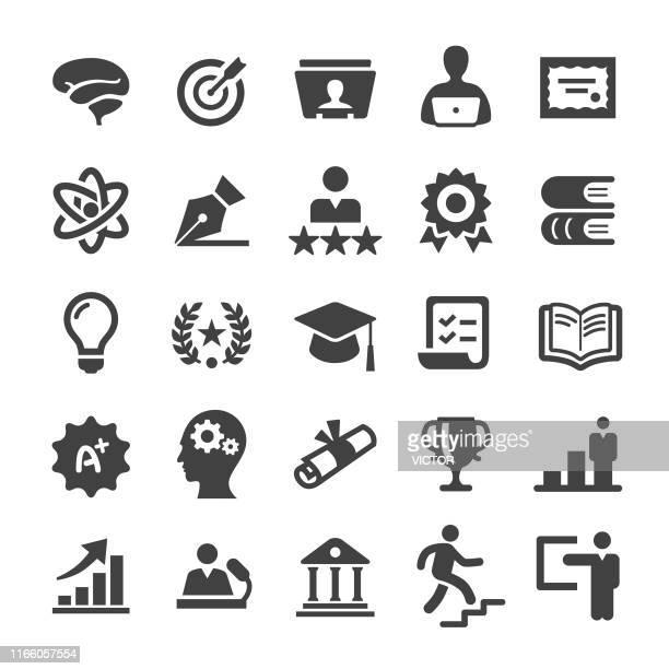 illustrations, cliparts, dessins animés et icônes de icônes de l'enseignement supérieur - série intelligente - marquer