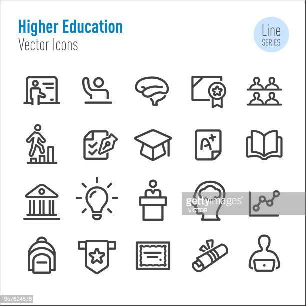higher education icons - vektor-line-serie - hochschulstudium stock-grafiken, -clipart, -cartoons und -symbole