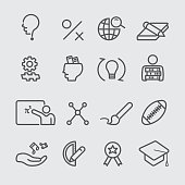 Higher education line icon