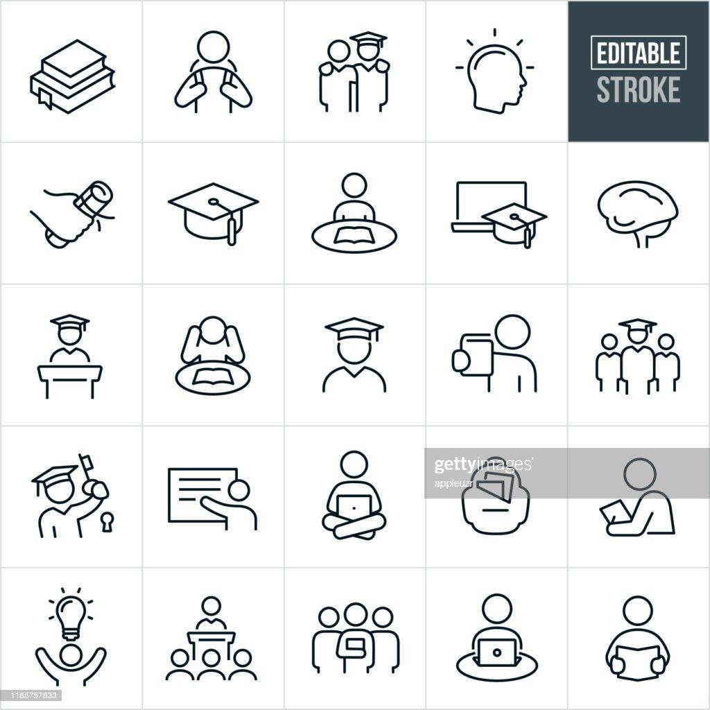 Thin Line-pictogrammen voor hoger onderwijs-bewerkbare lijn : Stockillustraties