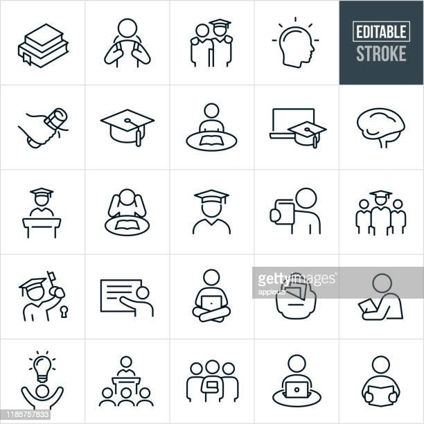 higher education thin line icons - editable stroke - person in education stock illustrations