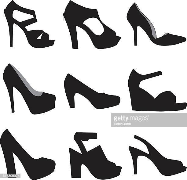 highheel shoe silhouettes - high heels stock illustrations, clip art, cartoons, & icons