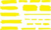 Highlight marker line. Brush pen underline stroke, yellow hand drawn color graphic shape. Vector permanent marker