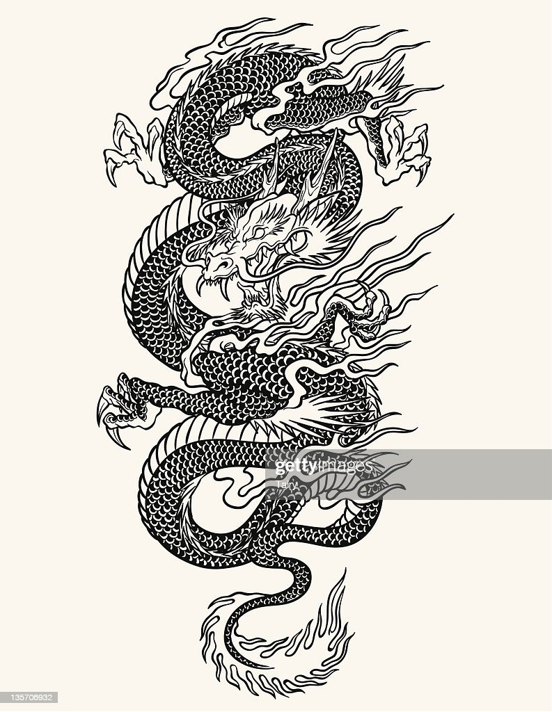 Highly detailed Asian dragon tattoo line-work