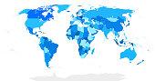 Highly Detailed Blind World Map Blue