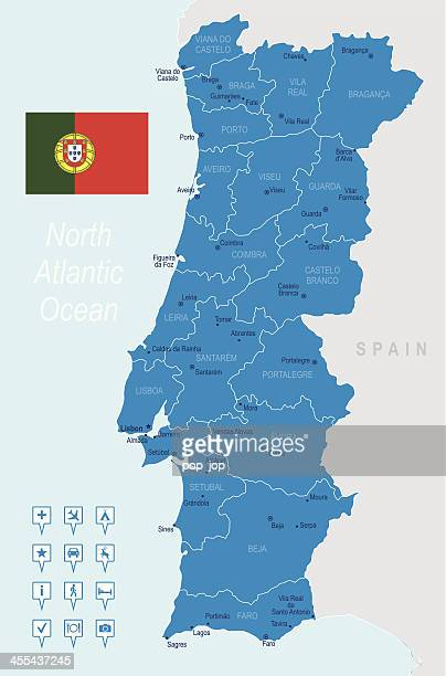 A highly detailed blue map of Portugal