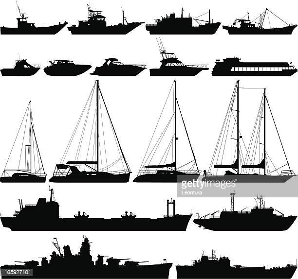 Highly Detailed Boat Silhouettes