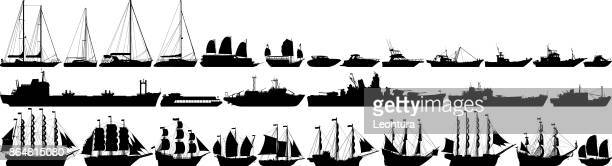 highly detailed boat silhouettes - commercial land vehicle stock illustrations