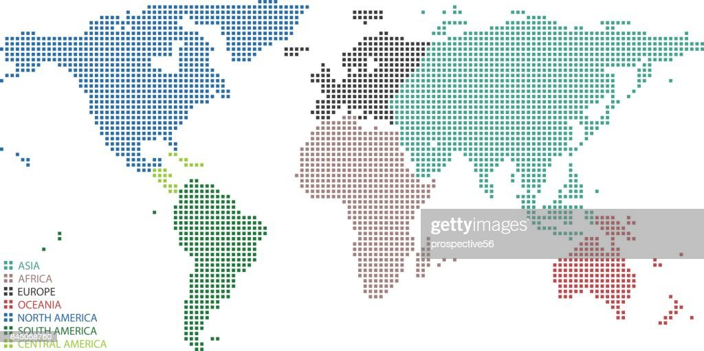 Highly detailed colorful World map dots, dotted World map continents vector outline with map legend, pixelated World map illustration background