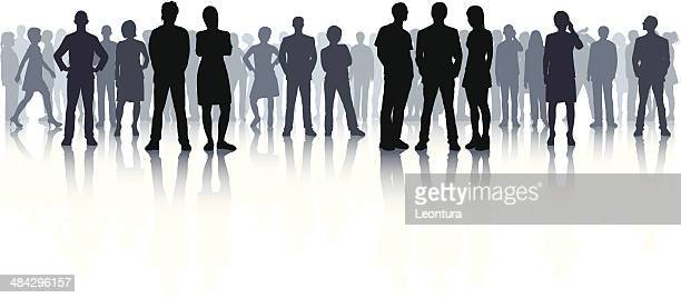 highly detailed crowd (44 complete, detailed people) - watching stock illustrations