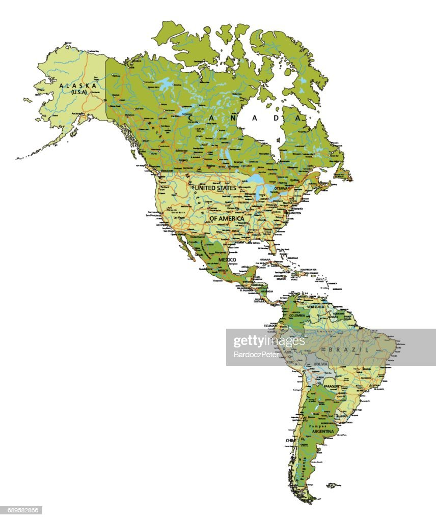 Highly detailed editable political map with labeling. Americas.