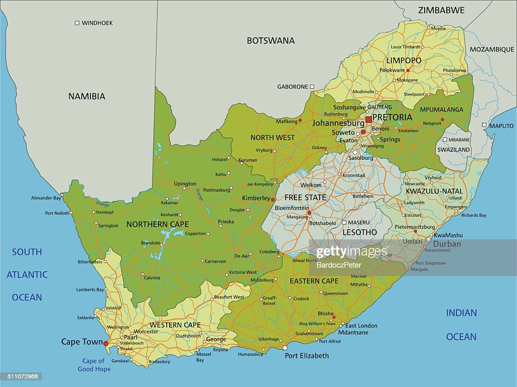 Highly detailed editable political map with separated layers. South Africa.