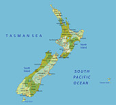 Highly detailed editable political New Zealand map with separated layers.