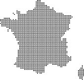 Highly detailed France map dots, dotted France map vector outline, pixelated France map in black and white illustration background