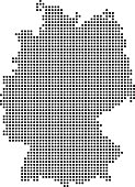 Highly detailed Germany map dots, dotted Germany map vector outline, pixelated Germany map in black and white illustration background