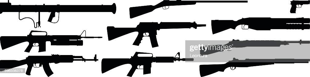 Highly Detailed Gun Silhouettes