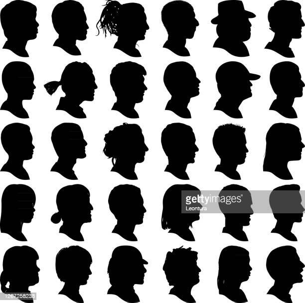 highly detailed head profile silhouettes - profile view stock illustrations