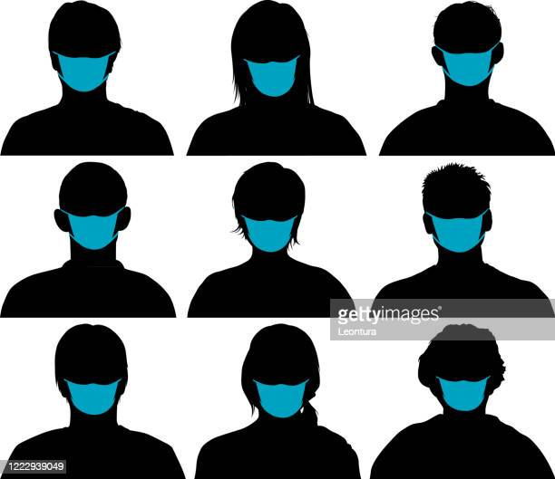 highly detailed heads - woman wearing protective face mask stock illustrations