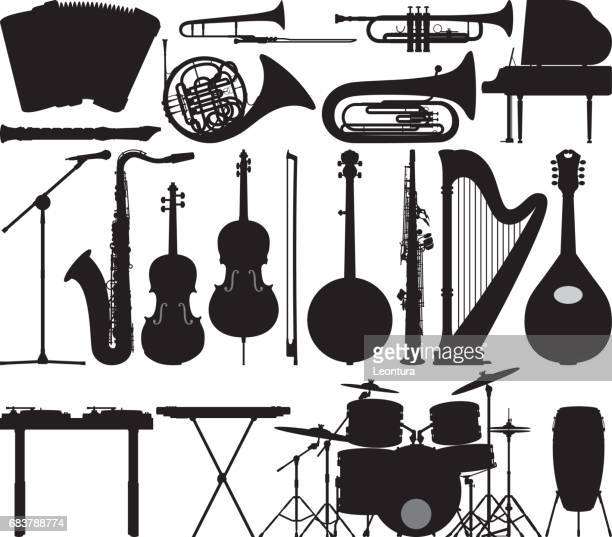 highly detailed instrument silhouettes - musical instrument stock illustrations, clip art, cartoons, & icons