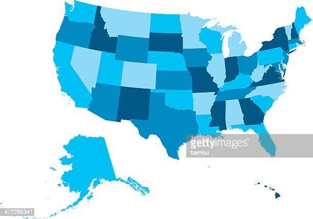 高度の詳細マップ米国記載されている全ての国 - 米メキシコ湾沿岸点のイラスト素材/クリップアート素材/マンガ素材/アイコン素材