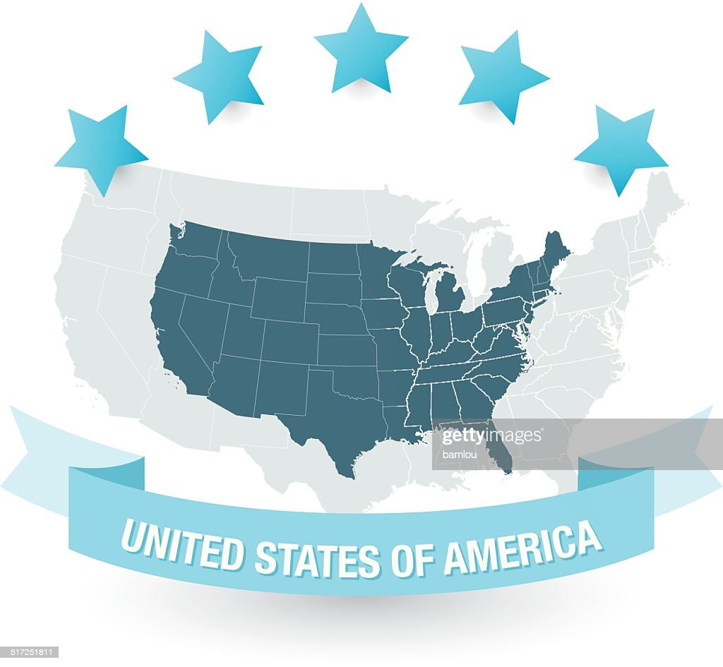 Highly Detailed Map Of The Usa All States Outlined Vector Art - Us Map With States Outlined Vector
