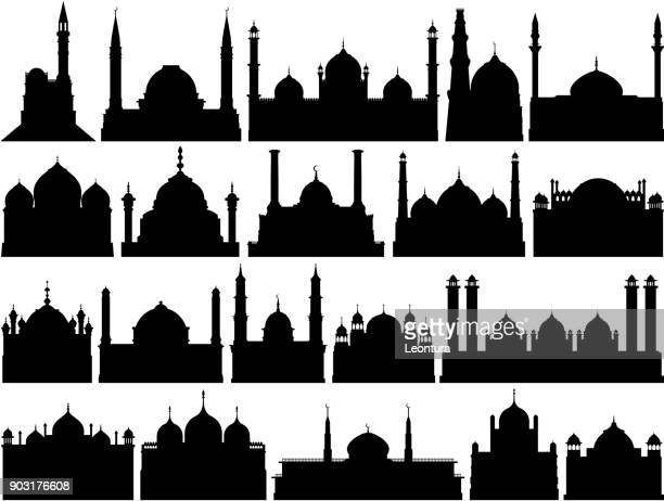 highly detailed mosques - mosque stock illustrations