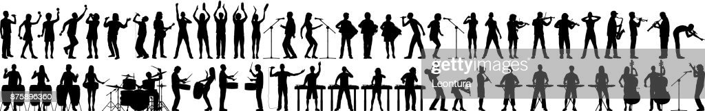 Highly Detailed Musician Silhouettes : stock illustration