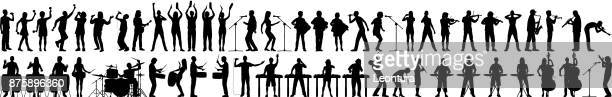 highly detailed musician silhouettes - musician stock illustrations, clip art, cartoons, & icons