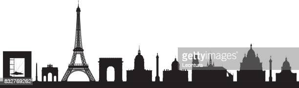 highly detailed paris skyline - monument stock illustrations