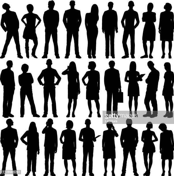 highly detailed people silhouettes - line stock illustrations