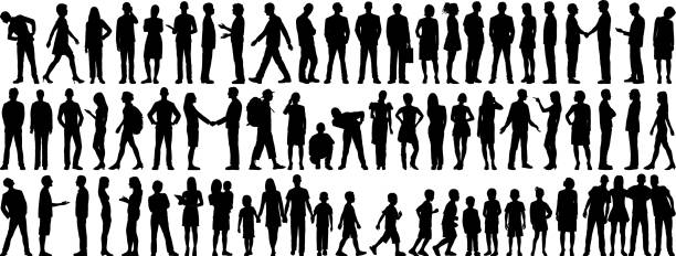 highly detailed people silhouettes - vector stock illustrations