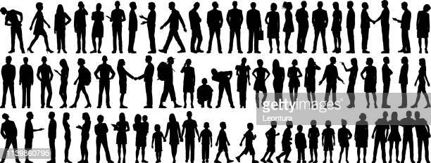 highly detailed people silhouettes - plain background stock illustrations
