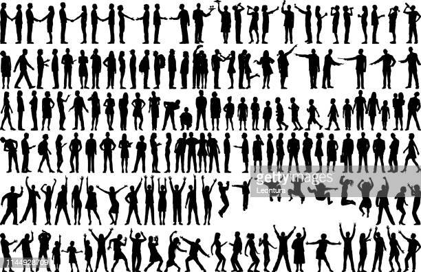 highly detailed people silhouettes - dancing stock illustrations